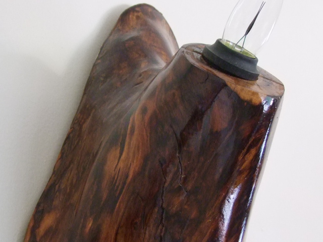 Black Walnut wood sculpted with light